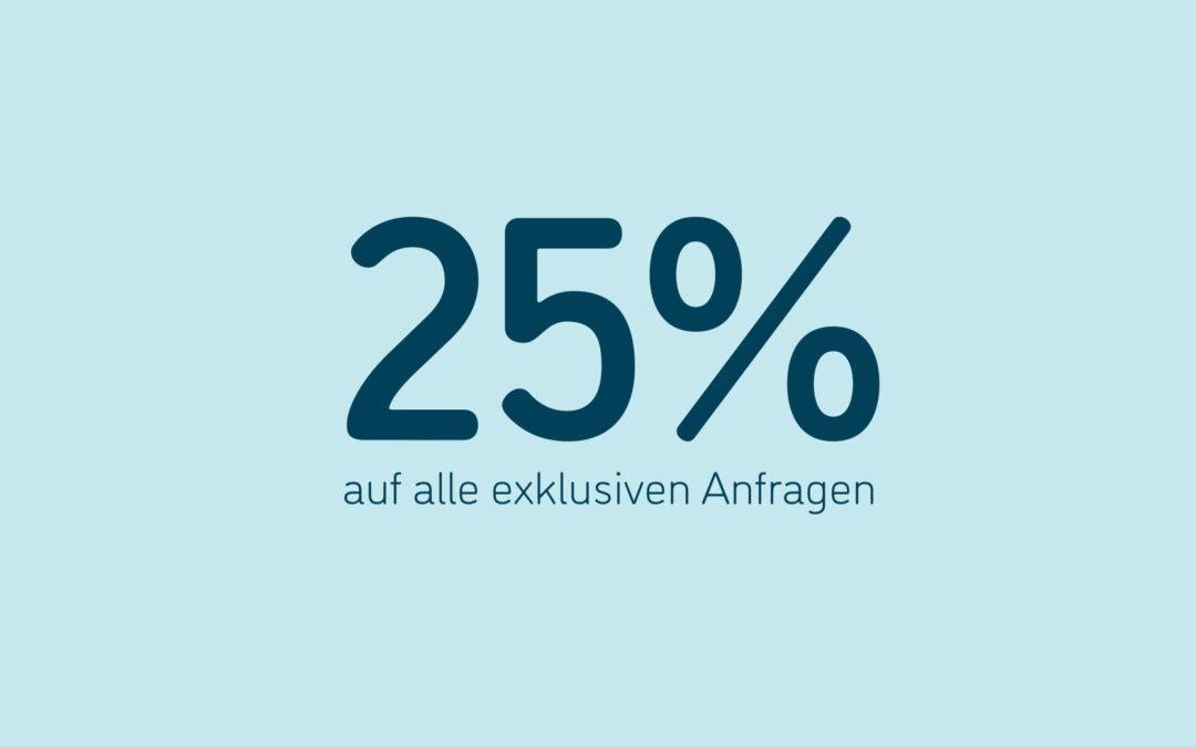 Sichern Sie sich mehr Angebote und 25% Rabatt auf exklusive Anfragen bis Ende des Jahres